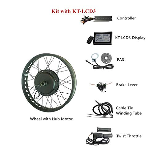 LOLTRA CSC Electric Fat Bike Conversion Kit with Brushless Hub Motor Rear Snow Wheel LCD Electric Bike Kit, 26 Inches, 4.0 Tyre, 48V, 1500W, 170mm Rear Wheel Bottom - Conversion Snow Kit
