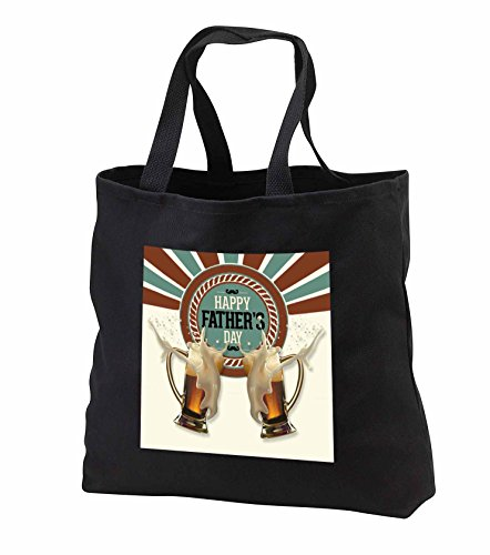 Doreen Erhardt For Him - Fathers Day Brown Green and Cream Foaming Beer Mugs in a Toast - Tote Bags - Black Tote Bag JUMBO 20w x 15h x 5d (tb_240640_3)