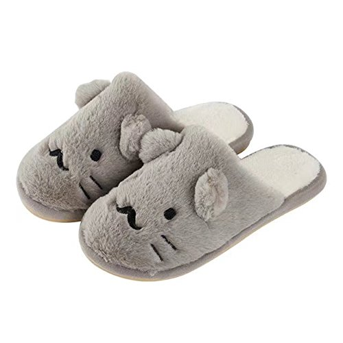 Zapatillas Miyang Winter Cat Para Mujer Zapatos Interiores De Felpa Animal Gris