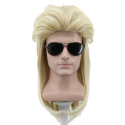 Yuehong Long Blonde 80s Rocker Wig Halloween Mullet Wig Heat Resistant Wigs Anime -