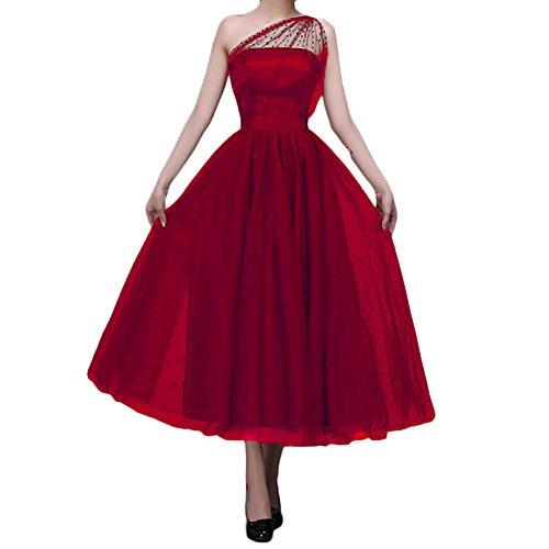 Women's Red Tulle Formal Tea Length Dress: Amazon.com