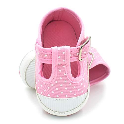 BubbleColor Newborn Baby Girl Shoes Premium Soft Anti-Slip Canvas Pink Crib Shoes Prewalker Toddler Princess Dress Shoes for 0-18 Months Babies (M:6-12 Months/4.72