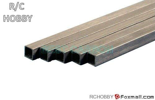 HATCHMATIC 500mm Length S-S Pultruded Square Carbon Fiber Tube: 6pcs of 4mm x 2p5mm