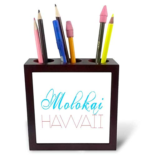 3dRose Alexis Design - American Beaches - Molokai, Hawaii. Decorative Text. Blue, red on White Background - 5 inch Tile Pen Holder (ph_287404_1) by 3dRose