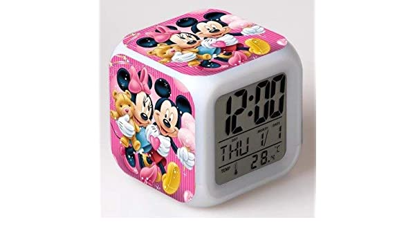 Amazon.com: HOKUGA: New Cartoon Mickey Mouse Alarm Clock reloj despertador Kids Cartoon Night Light led Digital Clock Electronic Desk Clock: Office Products