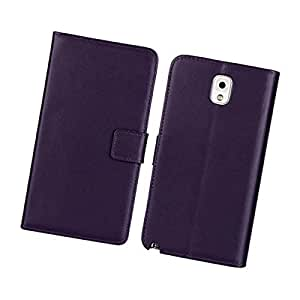 Fabcov Packing New Purple Genuine Real Leather Wallet Cover Case For Samsung Galaxy Note 3
