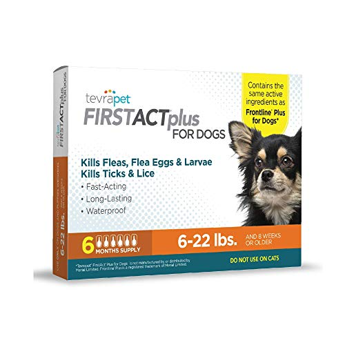 TevraPet FirstAct Plus Flea and Tick Prevention for Dogs, 6 Months Flea Control Medicine, Six Doses