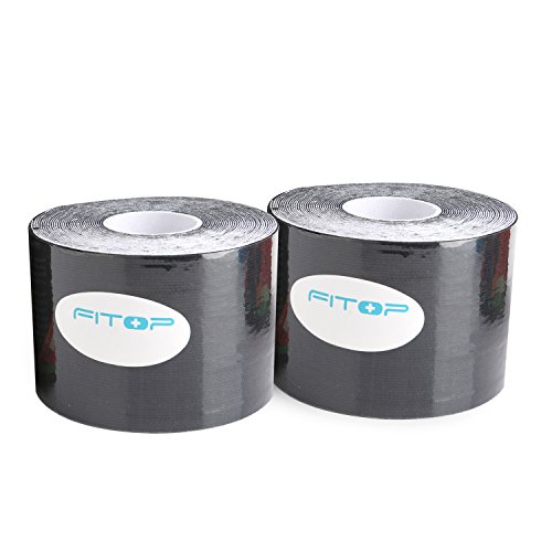 Kinesiology Tape, Therapeutic Sports Taping for Knee, Shoulder, Elbow and More, Perfect Support for Sports, Recovery and Physio Therapy, 2 Pack Black by FITOP