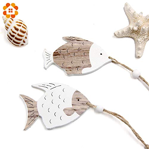 Decoration Christening Party Halloween 4PCS/Lot Wooden Fish Rustic Vintage Wooden Pendants Ornaments for Home Decor Kids Toys Festival Party Decorations Wood Craft (Random)