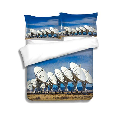 MTSJTliangwan Duvet Cover Set VLA Outer Space Radio Telescope Array Socorro New Mexico 3 Piece Bedding Set with Pillow Shams, Queen/Full, Dark Orange White Teal Coral