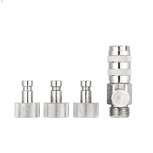 KKmoon Airbrush Accessories Air Brush Quick Release Plug Coupling Disconnect Coupler W/Adjustment Control Valve 3 Male 1/8in Adapters