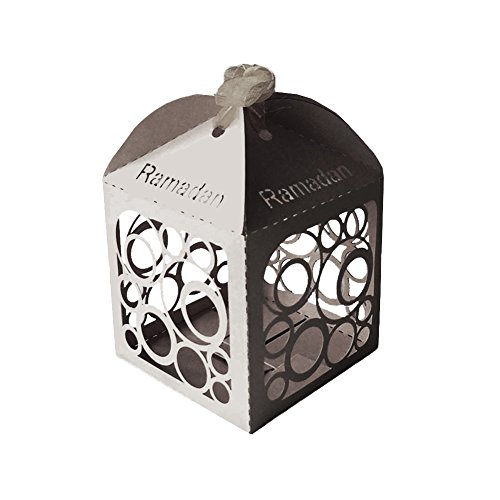Ramadan Party Favor Decoration Silver Lantern Mini Boxes (Pack of 10)