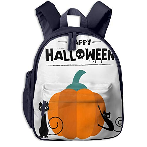 Happy Halloween Cats Pumpkin Double Zipper Waterproof Children Schoolbag With Front Pockets For Youth Boys -