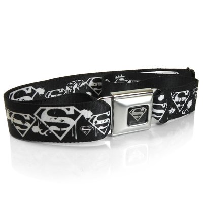 Buckle Down Big Boys Superman Shield Splatter Black/white Seatbelt Belt, multi, Regular (Multi Buckle Belt)