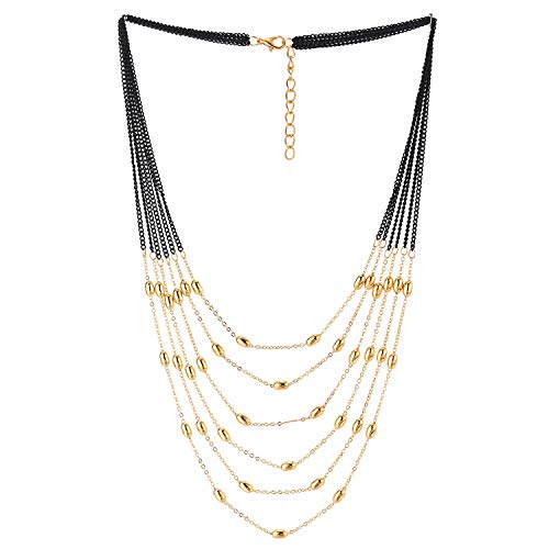 COOLSTEELANDBEYOND Black Gold Statement Necklace Waterfall Multi-Strand Long Chain with Beads Charms Pendant, Dress