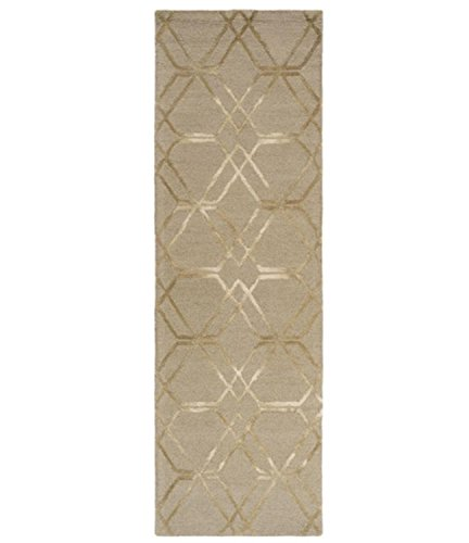 Diva At Home 2.5' x 8' Falling Diamonds Bay Leaf Brown and Sand White Hand Hooked Wool Area Throw Rug Runner ()