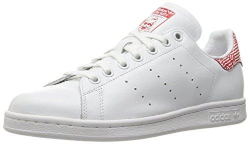 adidas Originals Women's Stan Smith W Fashion Sneaker, White/White/Collegiate Red, 8 M US
