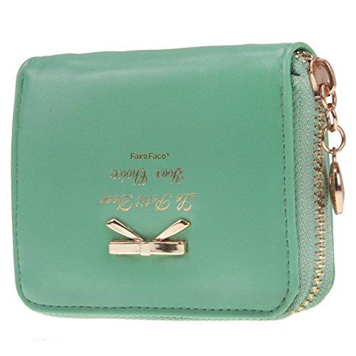 Women Girls Cute Bowknot Waterproof PU Leather Fold Mini Short Wallet Coin Purse Zipper Card Case Holder Clutch Small Handbag Nice Gift Modern Kids Wallet