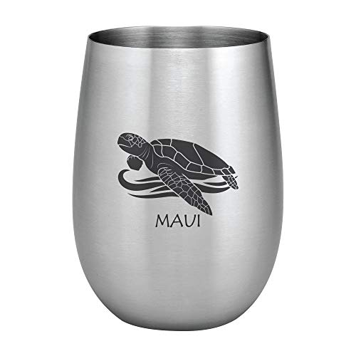 (Supreme 18/8 Stainless Steel Maui Honu Sea Turtle 20 oz. Stemless Wine Glass, Unbreakable and Shatterproof Metal for Wine, Beverage, Champagne, Cocktails and Beer)
