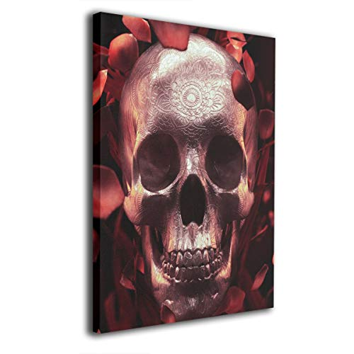 Baerg Rose Petal Skull Frameless Decorative Painting Wall Art for Home and Office Decorations -
