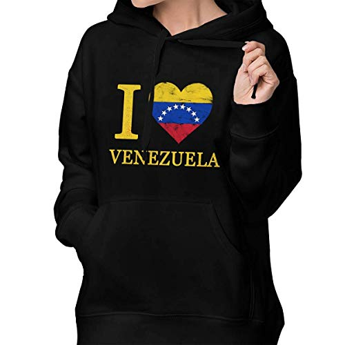Venezuela Heart Love Flag - I Love Heart Venezuela Flag Vintage Women's Pullover Hoodie Hooded Sweatshirt Sweaters with Pocket