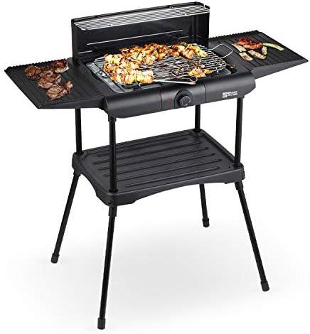 IKOHS BBQUEEN Barbecue électrique pour extérieur, en acier inoxydable, 2000 W, thermostat, arrêt automatique, hauteur réglable, réglable sur 3 niveaux, 86 x 47 x 85 cm