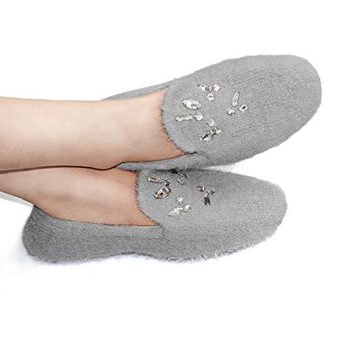 Women's Comfy Soft Memory Foam Ballerina Slippers Ladies Cashmere Knit Lightweight Slip on Spa House Shoes Decor with Rhinestone Grey