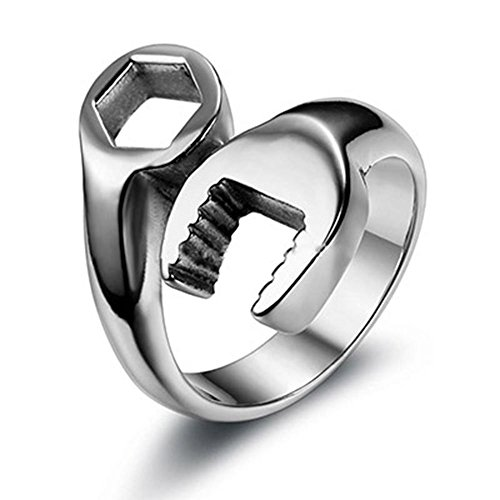 OurJewellery Fashion Mens 316L Stainless Steel Wrench Ring Cool Punk Biker Tools Rings for Men