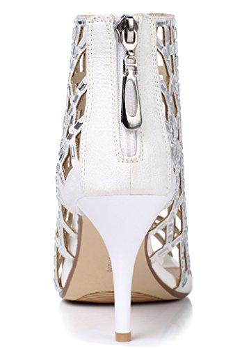 Lizform Donne Ritaglio Sandalo Stivali Open Toe Stiletto Sandali Indietro Cerniera Abito Scarpe Tacchi Alti Stivali White3