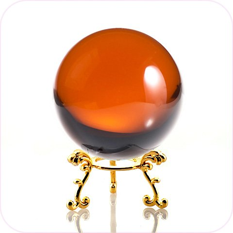 - Amlong Crystal Amber Crystal Ball 60mm (2.3 in.) Including Golden Flower Stand and Gift Package