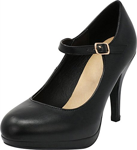 Mary Adjustable Jane Buckle (Cambridge Select Women's Mary Jane Buckle Strap Dress Cushioned High Heel Pump (8.5 B(M) US, Black PU))