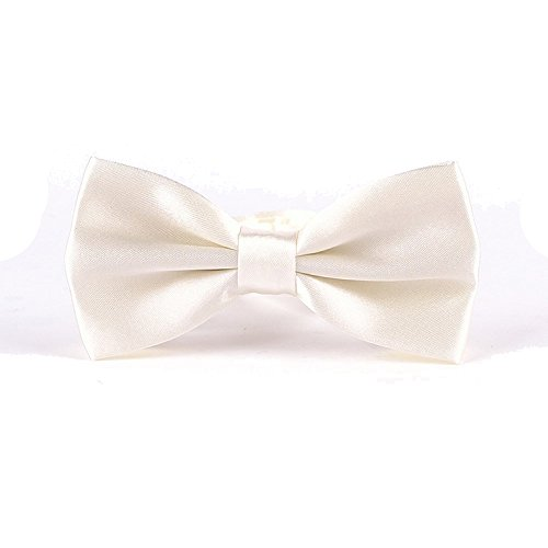 "Ivory Tie Bow (Adjustable Pre-Tied Tuxedo Bow Tie in a Gift Box, Classic 2.6"" Pretied Knot, Soft Sateen Polyester Bowtie for Men and Boys, 35 Colors Available, Cream)"