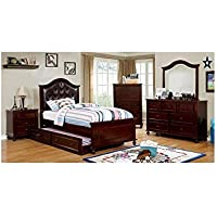 Walter Kids Leather PU Platform 4 Piece Twin Bed, 1 Nightstand, Dresser, Mirror - Dark Walnut Wood