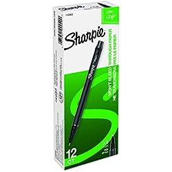 Sharpie Plastic Point Stick Water Resistant Pen, Ink, Fine, Pack of 12, Black (1742663)