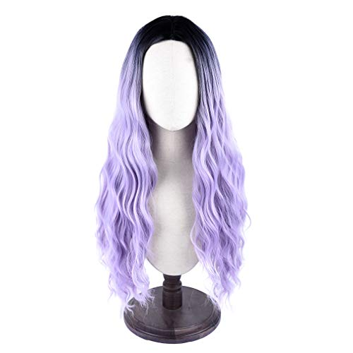 SEIKEA Women's Synthetic Long Wavy Hair Wig Dark Root Middle Part Cosplay Costume - Black Purple Ombre