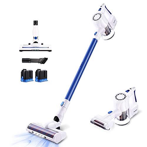 SIMPFREE Cordless Stick Vacuum Cleaner, 22KPa Powerful Suction Lightweight Handheld Cordless Vacuum with Digital Motor Duo Ion Battery (White-Extra Motorized Brush/Battery)