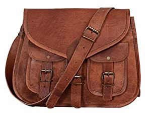 12 Inch Vintage Leather Women Satchel Messenger Shoulder Bag Ladies Purse Handbag Crossbody Bag