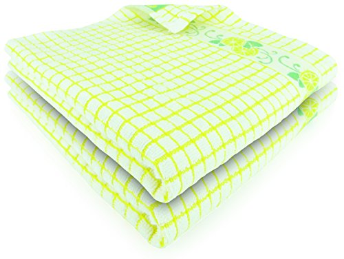 Fecido Fruity Kitchen Collection Dish Towels - Heavy Duty - Super Absorbent - 100% Cotton - The Best European Tea Towels With Fruit Design - Set of Two, Yellow Lemon (European Fruit)