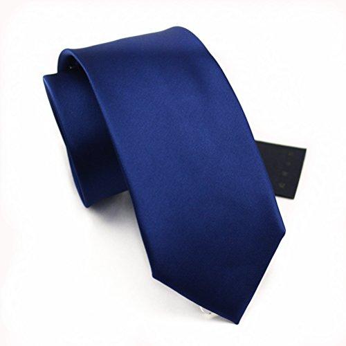 Elviros Mens Eco-friendly Handmade Solid Color Regular Width Tie 3'' (8cm) Dark Blue - Exclusive Silk Twill
