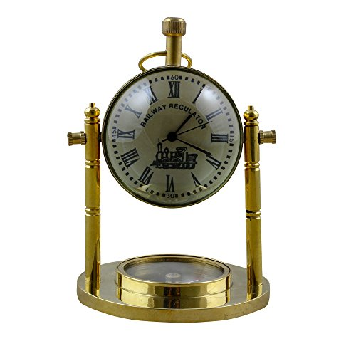 RoyaltyRoute Good Friday Deals!! Railway Regulator Desk & Shelf Clocks Vintage Style, 4.7 Inches for Office, Home & Kitchen (Regulator Clock Glass)