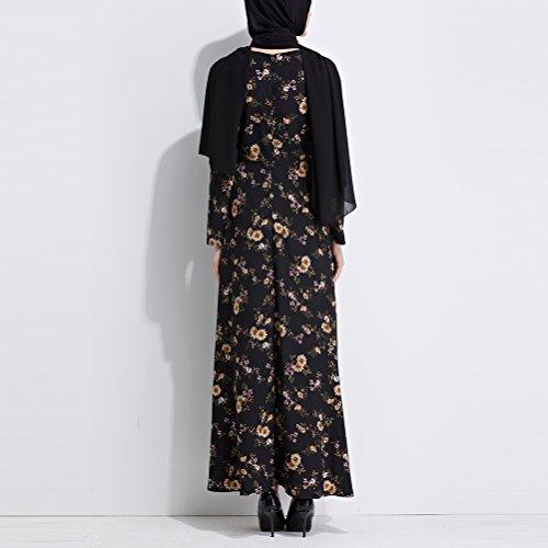 Gown Black Zhhmeiruian Kaftan Bohemia Abaya Long Dress Differnent Style Malaysia Maxi Evening Sleeve Printing Muslims Islamic ZrqZFU6