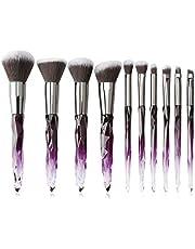 Makeup Brushes Crystal Handle Set, Tenmon 10 PCS Crystal Transparent Handle Kabuki Powder Foundation Brush Concealer Eye Shadow Eyeliner Eyebrow Brush (Green)