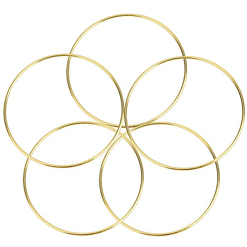 (Metal Rings Hoops Macrame Rings for Dream Catcher and Crafts (5 Pieces Gold, 5 Inch))