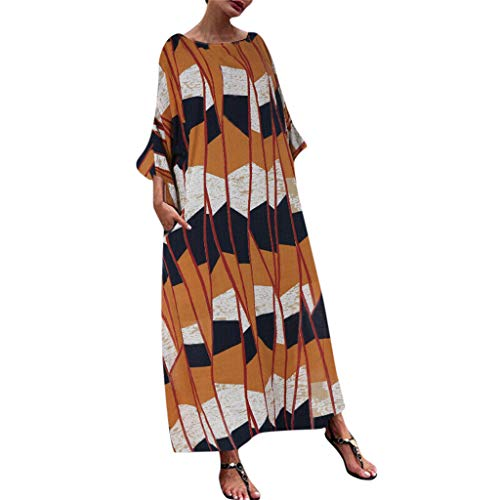 (Maxi Dress Casual Loose Pocket Long Dress Short Sleeve Split Long Maxi Dresses Plus Size Print Splice Fashion Women (XXXL,6- Orange))