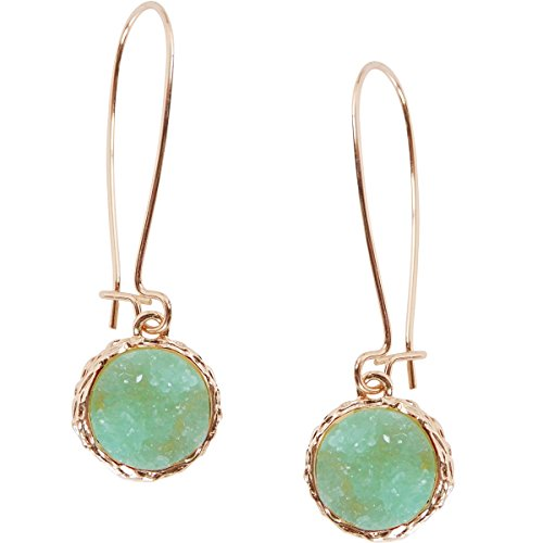 Humble Chic Simulated Druzy Threaders - Upside-Down Long Hoop Dangle Drop Earrings for Women, Aqua, Simulated Aquamarine, Mint, Simulated Jade, Gold-Tone -