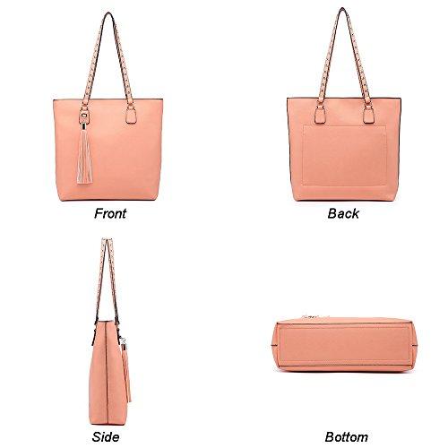 Celio Fedi Shoulder Purse,Hobo Bag Set Tote Handbag for Women Large Chic Classic Elegant Medium Size with Wallets Tassels (Medium, Pink) by Celio Fedi (Image #3)