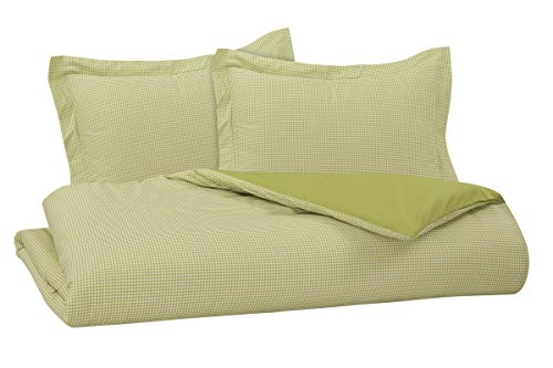 DELANNA Reversible Duvet Cover Set by 100% COTTON 3 Piece Percale Duvet Cover Set Includes Duvet Cover and 2 Pillow Shams Crisp, Comfortable, Breathable, Soft and Durable (Full/Queen, Lime Ginham)