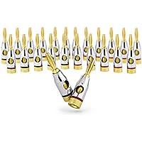 Ocelot Banana Plugs, 24k Gold Plated Connectors, Open Screw Type, 12 Pair