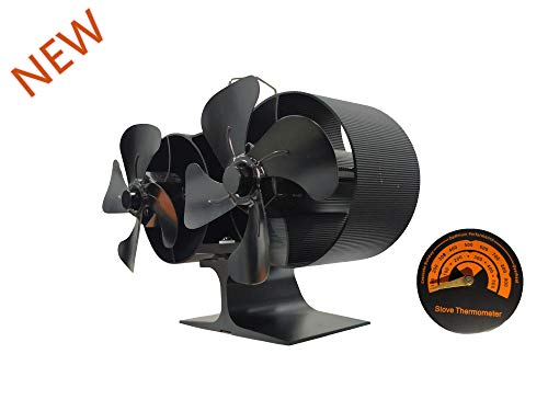 YUYAN All Kind of Fireplace Fan for Wood/Log Burner Rapid Heating Stove Fan Include Thermometer (Double Fan)