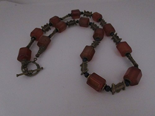 Amber Glass Beads with African Accents Necklace